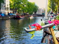Bicycle on an Amsterdam canal Royalty Free Stock Photo