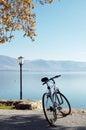 Bicycle on the banks of lake orestiada kastoria greece Royalty Free Stock Photos