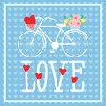 Bicycle with a basket of flowers and heart.  Postcard template with Valentine`s Day Royalty Free Stock Photo