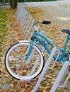Bicycle at bike rack Royalty Free Stock Images