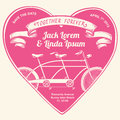 Bicycle, bike, tandem, double, together, forever, heart, balloon, ribbon, title, save the date, wedding, happy, love, valentine, r Royalty Free Stock Photo