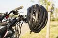 Bicycle black helmet Royalty Free Stock Photo