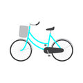 Bicycle with blue colored female frame light grey pannier on handlebar big dark grey saddle big wheels with mudguards logo Royalty Free Stock Photo