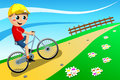 Bicycle boy going uphill illustration featring a riding his bike outdoor you can find different kids or children playing sports in Royalty Free Stock Image