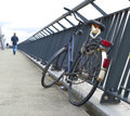 Bicycle on bridge Royalty Free Stock Image