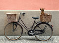 Bicycle and chihuahua detail of a parking with two basket with a little dog inside of one of them Stock Images