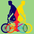 Bicycle colorful vector isolated on green background illustration Stock Images