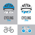 Bicycle, cycling helmet and glasses Royalty Free Stock Photo