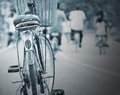 Bicycle cycling on a rainy day Stock Photo