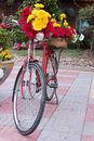 Bicycle decorated with flowers adorned colorful in the park Stock Image