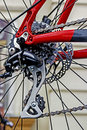 Bicycle detail of chain derailleur and rear wheel Stock Image