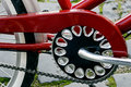 Bicycle detail of crank chain derailleur red mudguards and rear wheel Stock Image