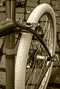 Bicycle detail of vintage frame chain brake derailleur and rubber rear wheel Royalty Free Stock Photos
