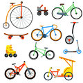 Bicycle flat style  on white background vector illustration Royalty Free Stock Photo