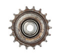 Bicycle gear wheel rusty isolated on white background Royalty Free Stock Photography