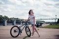 Bicycle girl Royalty Free Stock Photo