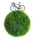 Bicycle and grass sphere Royalty Free Stock Image