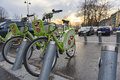 Bicycle hire in budapest hungary february low angle shot of bubi s scheme february Stock Photography