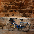 Bicycle in historical ciutadella stone wall at balearics balearic islands Royalty Free Stock Image
