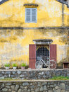 A bicycle in hoi an by the canal next to the old japanese bridge vietnam Stock Photography