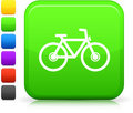 Bicycle icon on square internet button Royalty Free Stock Photo