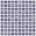 100 bicycle icons set grunge sapphire Royalty Free Stock Photo