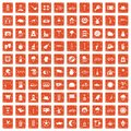 100 bicycle icons set grunge orange Royalty Free Stock Photo