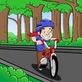 Bicycle illustration of boy cycling in the park Royalty Free Stock Photography