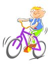 Bicycle kid illustration Stock Images
