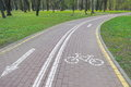 Bicycle lane cycle path stock photos in a city park Stock Photography