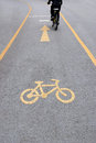 Bicycle lane in public park Stock Images