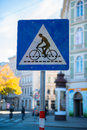 Bicycle lane road in vienna Stock Photos