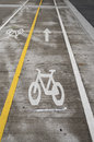 Bicycle lane with separate lanes for each direction Royalty Free Stock Photography