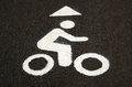 Bicycle Lane Sign in Black and White Sepia Tone Royalty Free Stock Photo