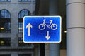 Bicycle lane sign illuminated blue for Stock Images
