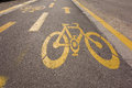 Bicycle lane sign on the road Royalty Free Stock Photo