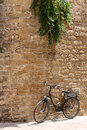 Bicycle leaning against old wall Royalty Free Stock Photo