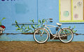 Bicycle leaning against a wall Royalty Free Stock Photography