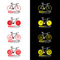 Bicycle logo 4 style and red yellow color tone vector design Royalty Free Stock Photo