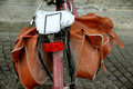 The bicycle pannier bag and part of old Stock Photo