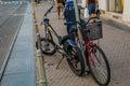 Bicycle parked custom bike on streets of zagreb croatia Stock Photos