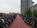 Bicycle parking bicycles lined up in rows in one of the most friendly places on earth amsterdam Stock Photography
