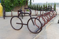 Bicycle parking lot beside the river mekong in loei province in northeastern of thailand Stock Photo