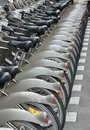Bicycle parking in paris france Royalty Free Stock Photo