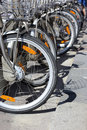 Bicycle parking in the street of the city Royalty Free Stock Images
