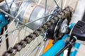 Bicycle parts rear wheel brake disc cassette fragment frame Royalty Free Stock Photo