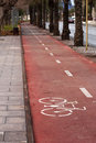 Bicycle path bike in the seaside town Royalty Free Stock Photos