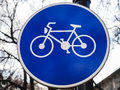Bicycle path sign Royalty Free Stock Photo
