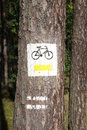 Bicycle path sign on the tree Royalty Free Stock Photo
