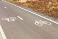 Bicycle path two directions at a park Stock Photos